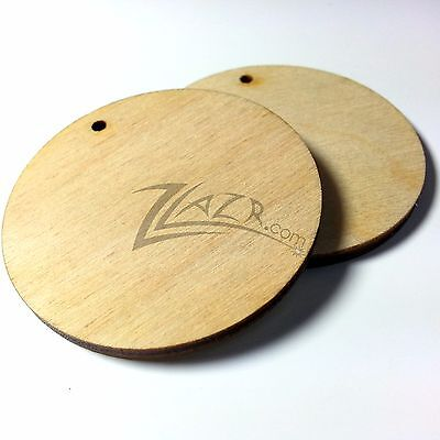 """100 2""""x1/8"""" Wooden Circles Craft Disc 1-Key-chain hole wood USA MADE Free S&H!"""