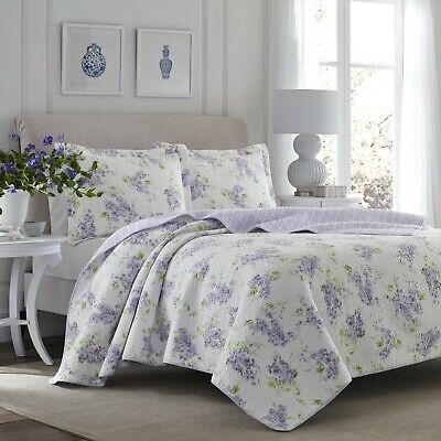 BEAUTIFUL PURPLE LILAC LAVENDER GREEN WHITE COUNTRY CHIC FLOWER FLORAL QUILT SET ()
