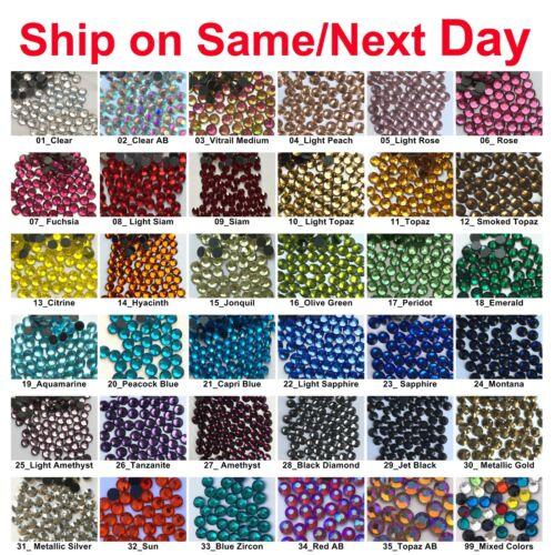 1440 pcs DMC Iron On Hotfix Crystal Rhinestones Colors SS6 SS10 SS16 SS20, 2-5mm