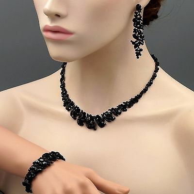 Black Jet Crystal Necklace Earrings Bracelet Bridal Wedding Jewelry Set 08486