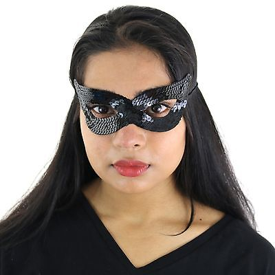 Adults / Kids Halloween Masquerade Carnival Party Sequin Cat Eye Mask - Black ()