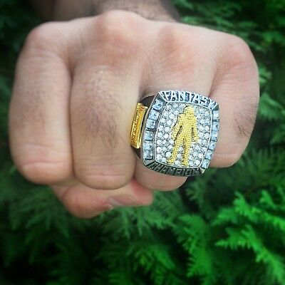 2018 Fantasy Football Championship Trophy Ring Silver Gold Plated +Display Case  ()