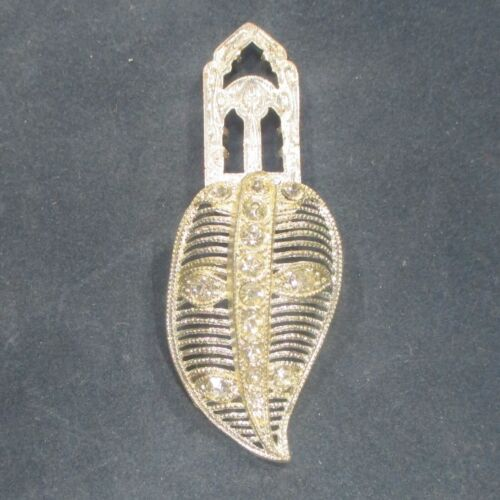 Dress clip lacy silvery metal w clear rhinestones antique/vintage ᵇ r1