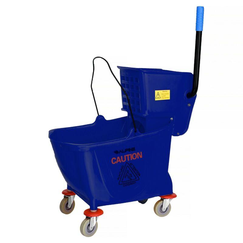 Alpine Industries 36 Quart Blue Side Press Commercial Combo Mop Bucket