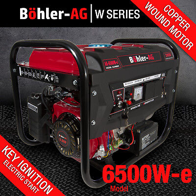 Bohler Generator 2800w 3.4 KVA 4 Stroke Petrol UK 8HP 6500W-E Electric Key Start