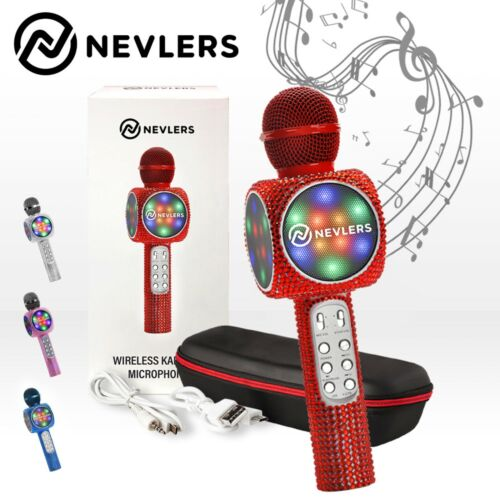 NEVLERS Karaoke Microphone w/ Bluetooth Speaker,Voice Changer & LED Lights- RED
