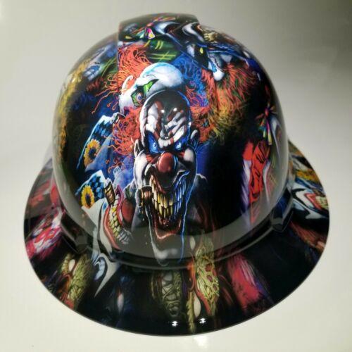NEW FULL BRIM Hard Hat custom hydro dipped BIG BAD BOSS MAN KILLER CLOWNS sick