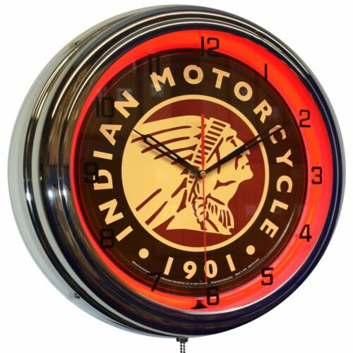 """16"""" Indian Motorcycle Since 1901 Sign Red Neon Advertising Clock Garage Decor"""