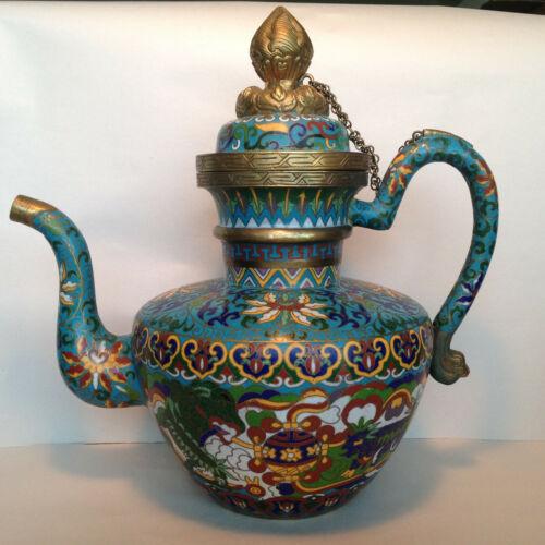 Antique Vintage Chinese Cloisonne Enamel HUGE Ceremonial Tea Pot w Dragons