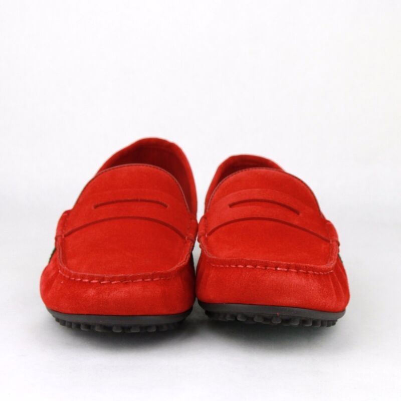 9f82872d847 ... New Gucci Men s Red Suede Driver Loafer Shoes GRG Web Detail 407411  6460 ...