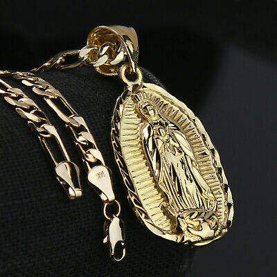 """Jewellery - Guadalupe Width 14k Gold PT Charm Pendant 5mm 24"""" Figaro Necklace Choker Chain"""