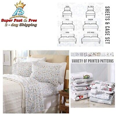 Warm Cozy Lightweight Luxury Winter Christmas Bed Sheets 100% Turkish Cotton NEW ()