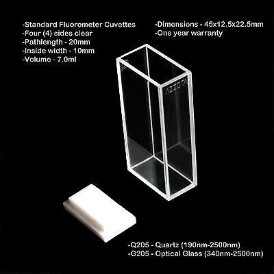 Azzota 20mm Pathlength Standard Fluorometer Cuvettes - 7ml Quartz