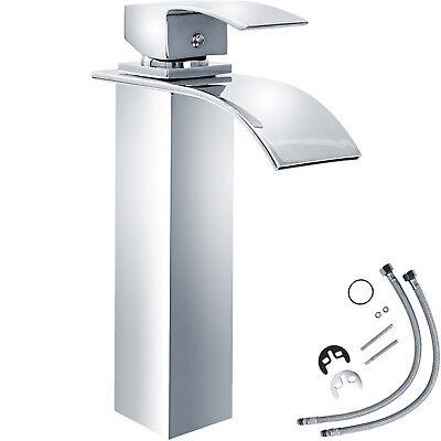 Miscelatore monocomando a cascata alto cromata rubinetto lavabo bagno lavandino