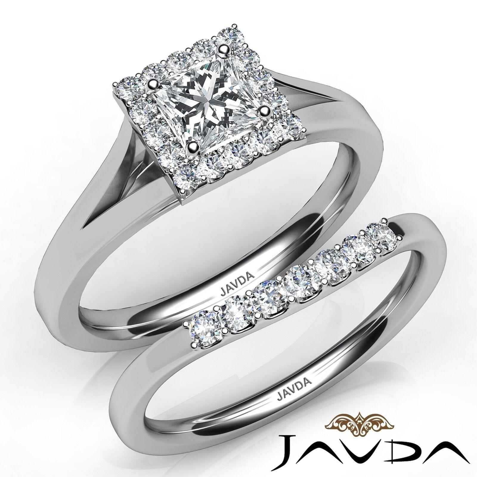 1.23ctw Halo Pave Bridal Princess Diamond Engagement Ring GIA F-VS2 White Gold