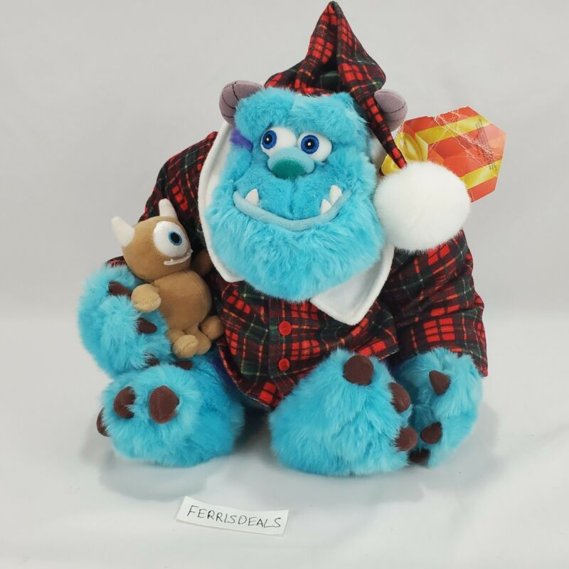 Disney Store Holiday Xmas Morning Sulley Plush Plaid Pajama Shirt Monsters Inc