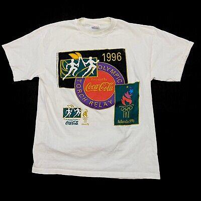 VTG 90s Atlanta Olympics Games T Shirt Large Single Stitch Coca Cola Graphic Tee