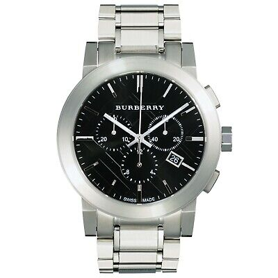 Mens Burberry chronograph watch black dial Swiss Movement Silver Strap BU9351