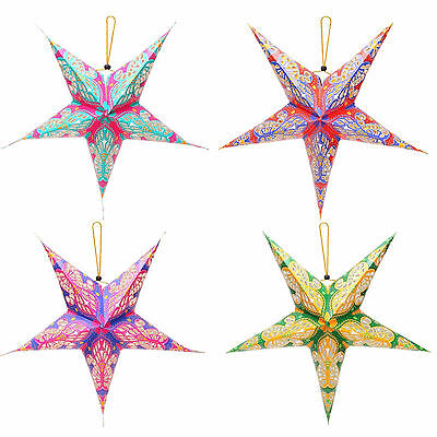 Bohemian Summer Garden Party Shabby Chic Fun Colourful Hanging Star Decorations