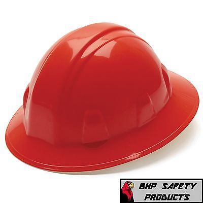 12 Hats Pyramex Full Brim Safety Hard Hat Red With 4-pt Ratchet Construction