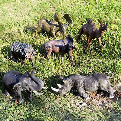 6 Pieces Jumbo Plastic Educational Forrest Animals Toy Zoo Set Elephant Moose