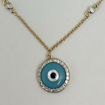 Diamond & Turquoise Evil Eye Bracelet in 14K Yellow (Diamond Evil Eye Bracelet)