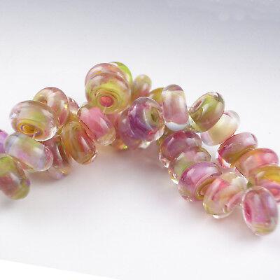 """8 Handmade Lampwork Glass Beads, Artist made Beads - """"Enchanted Garden"""""""