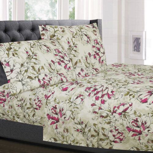 Dolce Sage/Purple Floral Printed 4-Piece 1800 Thread Count Sheet Set Bedding