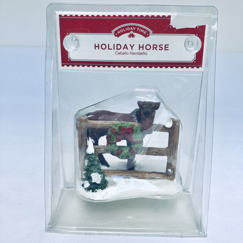 """Christmas Village Miniature Holiday Horse Figure Accessory 3"""" Holiday Time New"""
