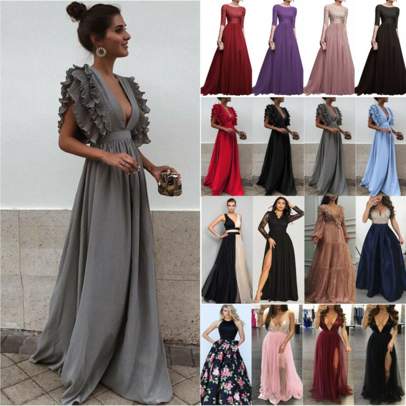 Damen Abendkleid Formal Kleider Prom Party Cocktail Brautjungfer Hochzeitkleid