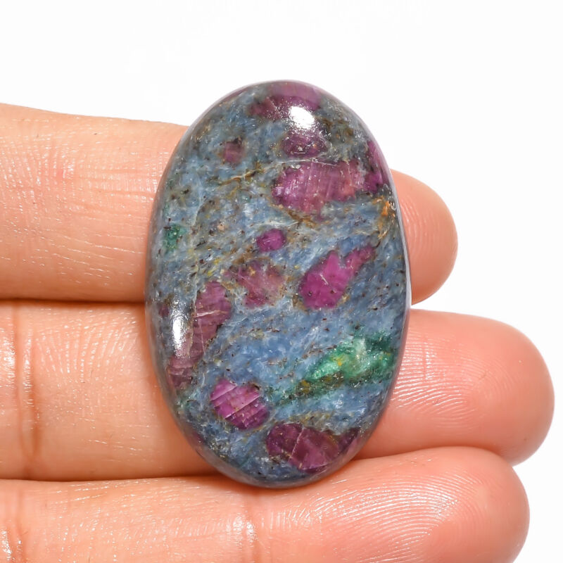 Natural Ruby Fuchsite Oval Shape Cabochon Loose Gemstone 50 Ct 33X22X6mm EE19058