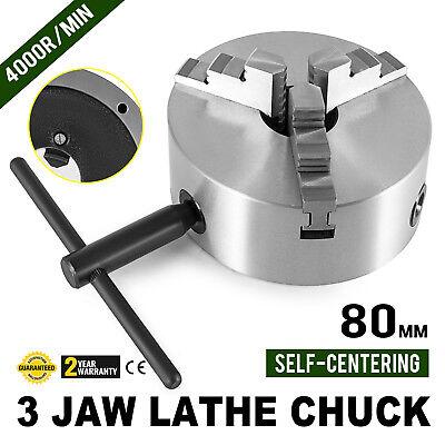 """Lathe Chuck K11-80 3"""" 3 Jaw 80mm 4000r/min Milling Machine S"""