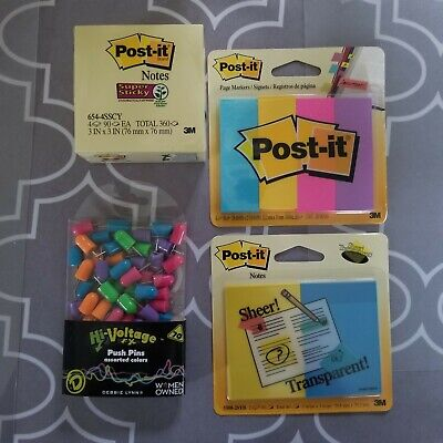 Bundle Post-it Notes 3 X 3 Sheer 2 X 3 Page Markers Push Pins Lot Of 4