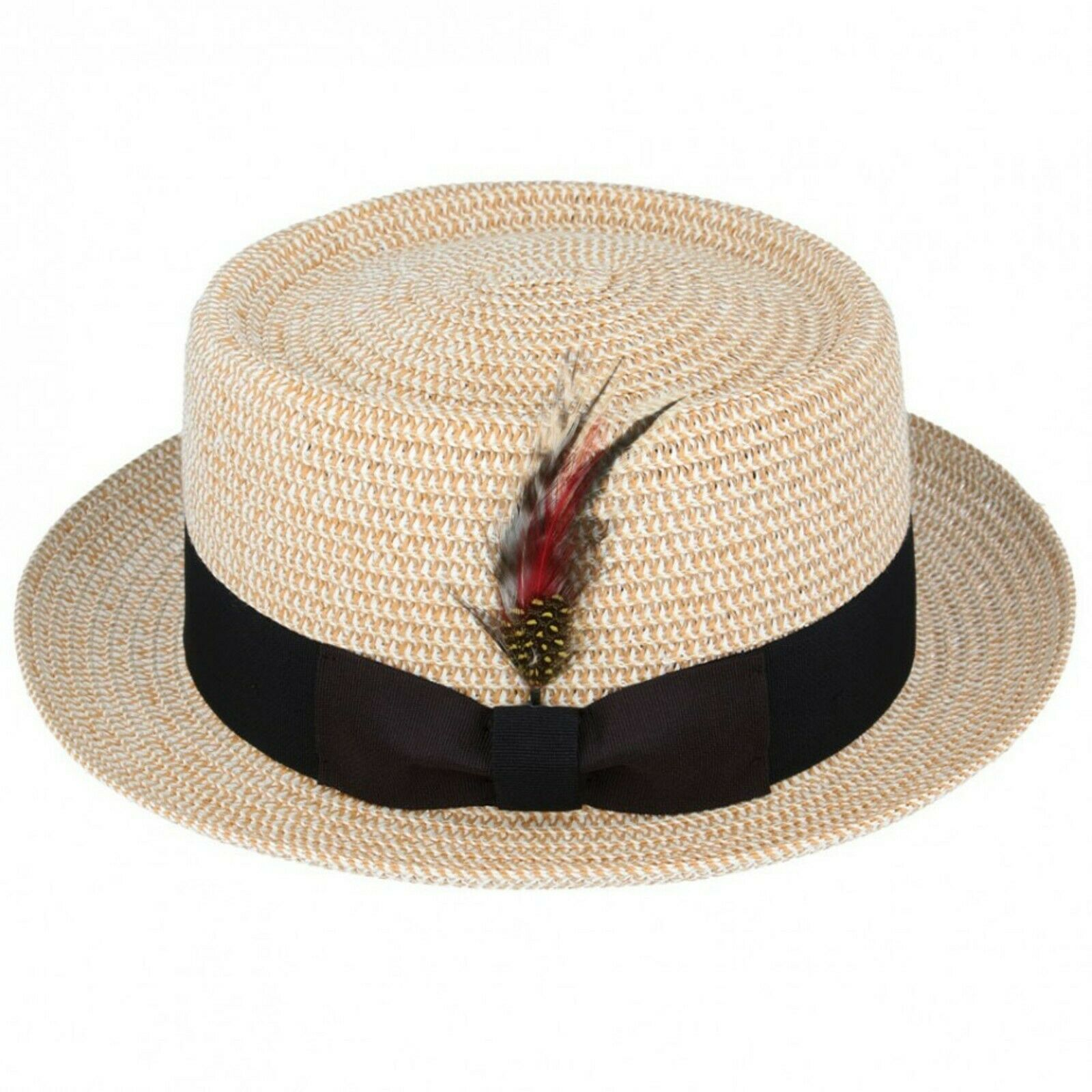 1223213164901 UNISEX Crushable Straw Summer Pork Pie Trilby Hat With Removable Feather  andAdjustable Sweatband