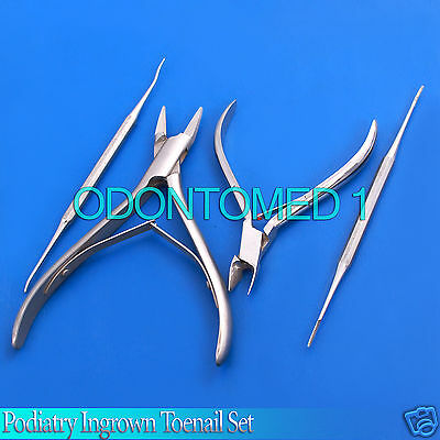 Podiatry Ingrown Toenail Set Four 4 Stainless Steel Instruments
