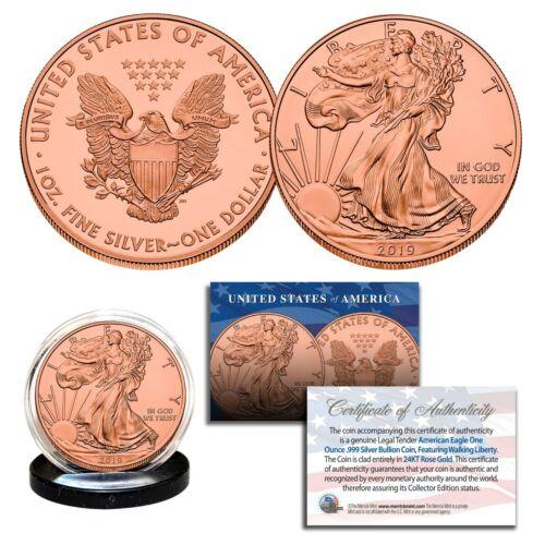 2019 Genuine 1 OZ .999 Fine Silver American Eagle US Coin - FULL 24KT ROSE GOLD