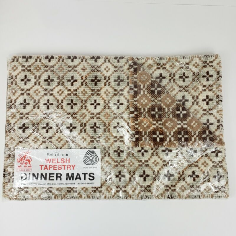 Vtg NOS 100% Wool Welsh Tapestry Dinner Mats Trefriw Beautiful