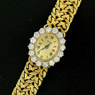 Piaget 18K Yellow Gold Woven Band Watch w/ 2.00ctw D VVS1 Diamond Bezel 3877N21