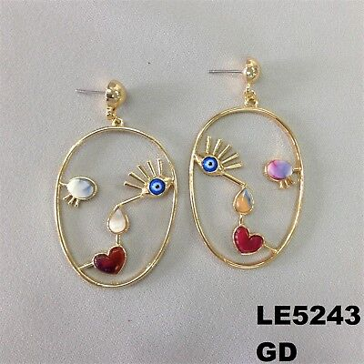Colorful Stone Picasso Style Evil Eye Gold Finish Drop Dangle Hook Earrings - Colored Stone Drop Earrings