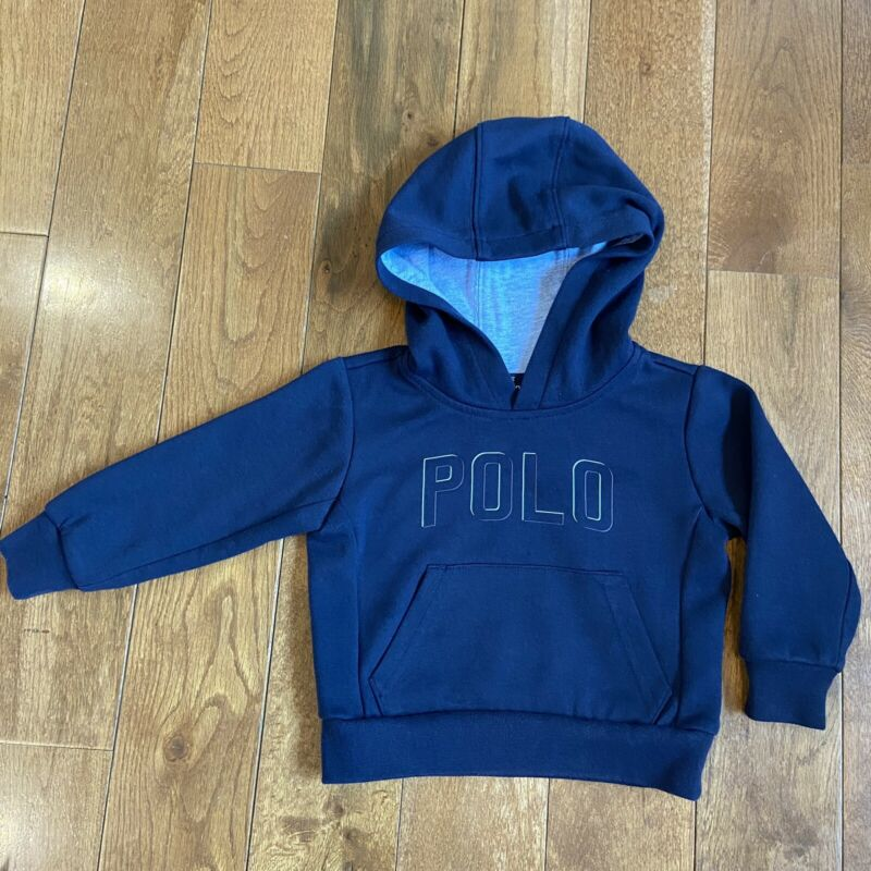 Boys Polo Ralph Lauren Performance Hoodie Sweatshirt Blue 2T