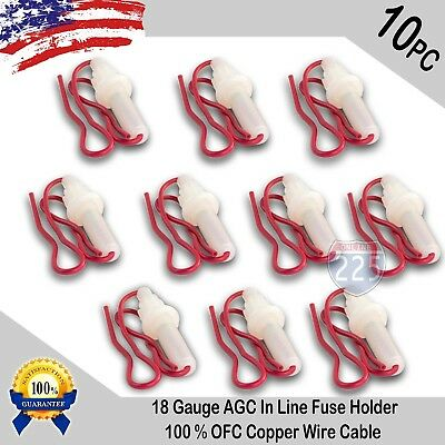10pcs 18 Gauge AGC In-Line Twist Type Fuse Holder w/ Copper Wire Cable Boat (Agc Marine Fuses)