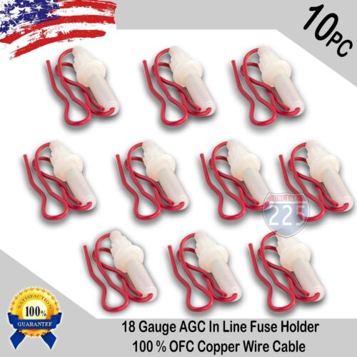 10pcs 18 Gauge AGC In-Line Twist Type Fuse Holder w/ Copper Wire Cable Boat RV