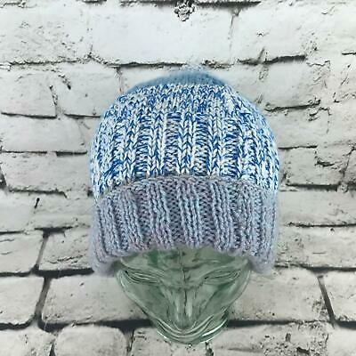 Womens OSFA Hat Blue Striped Cable Knit Roll-Up Beanie Warm Winter Cap for sale  Shipping to India