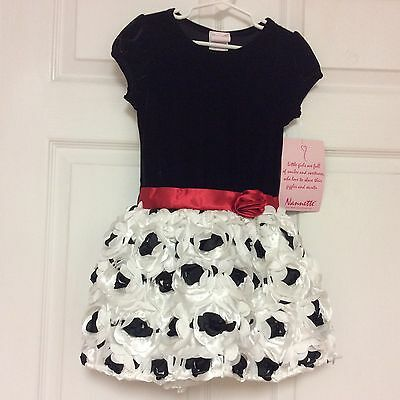 Nannett Girl New Dress Size 5 White Dressy Pageant Fully Lined Crinoline 29