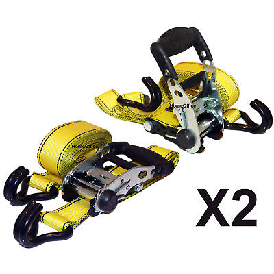 2 x Heavy Duty Ratchet Strap - 1000lbs Load, Tie Downs Lashing Rachet