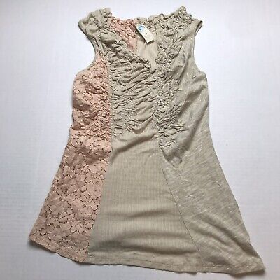 Anthropologie C Keer Mixed Material Asymmetric Lace Detail Tank Top Sz S A1238