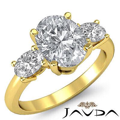 3 Stone Prong Setting Oval Cut Diamond Engagement Wedding Ring GIA H VS2 1.5 Ct 3