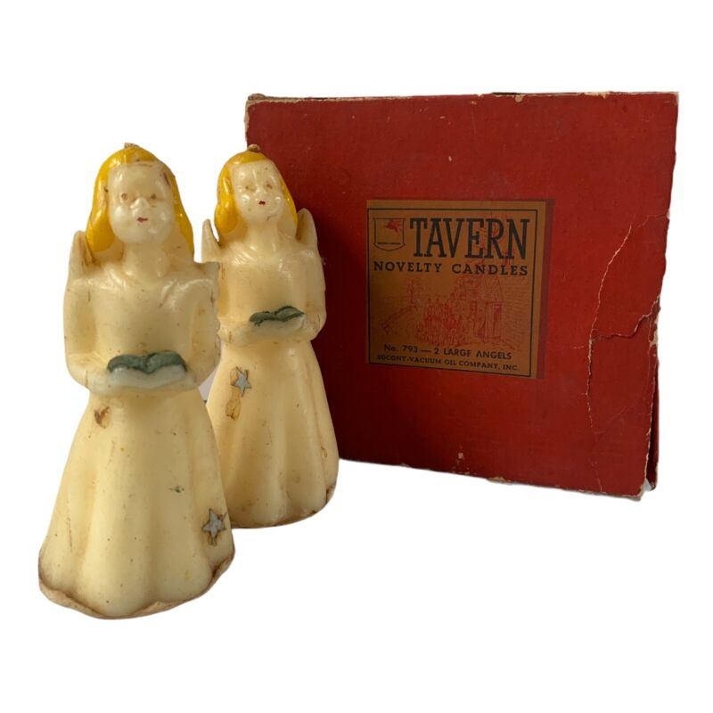 Vintage Tavern Candles LG Angels Set Of 2 In Box #793 Christmas Novelty