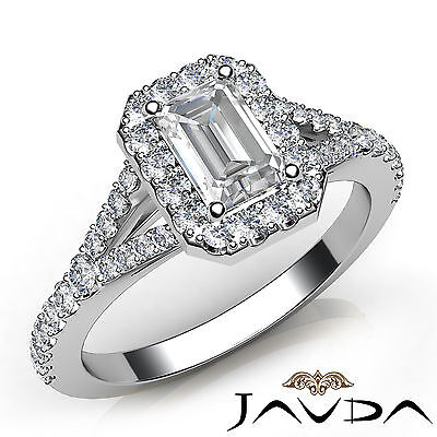 Halo U Cut Pave Split Shank Emerald Diamond Engagement GIA H Color VS2 Ring 1Ct