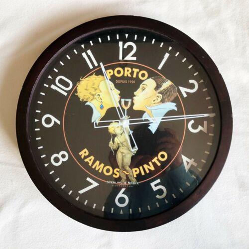 "Vintage Porto Ramos – Pinto Sterling & Noble Clock Rare Food Wine 15"" Wall Mount"